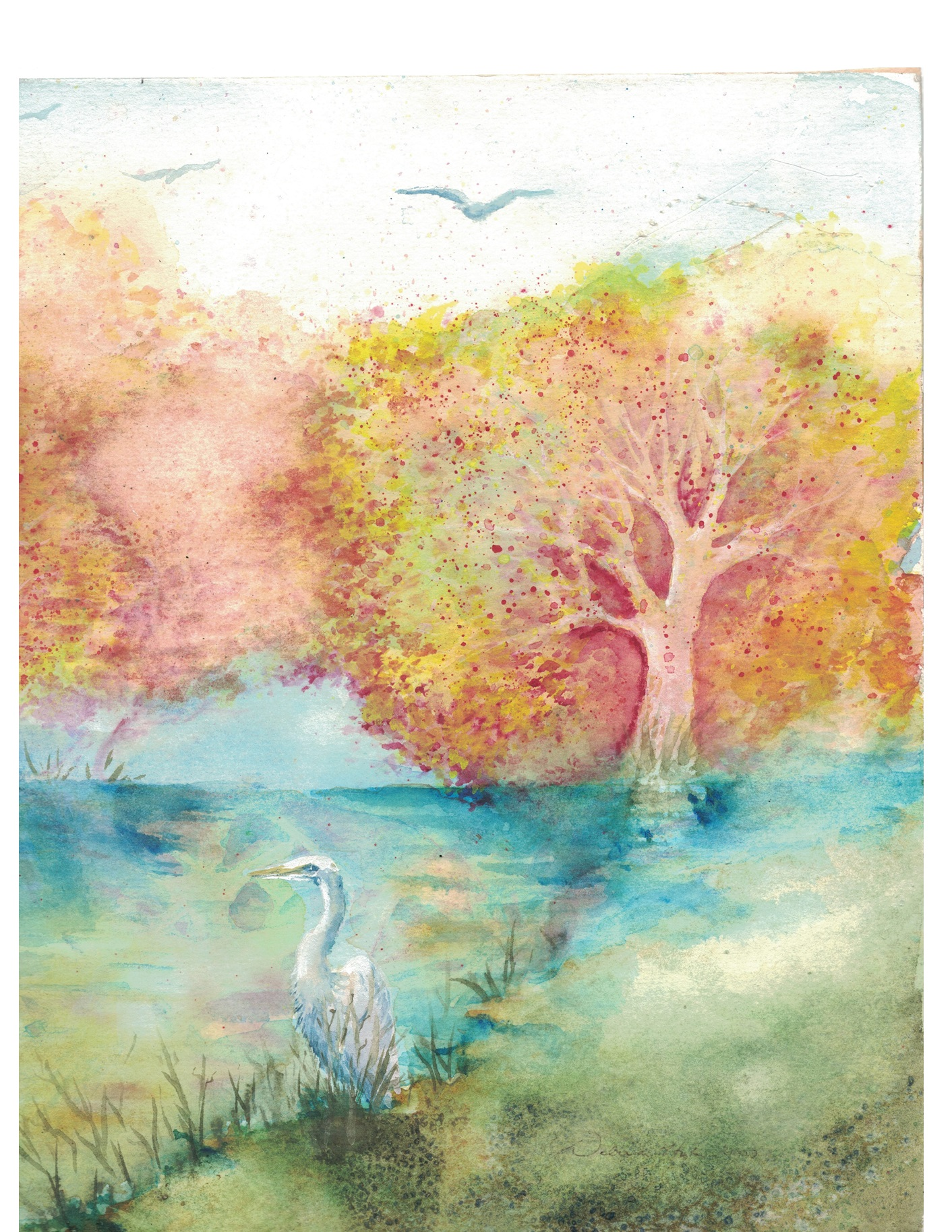Fall Trees With Crane 2