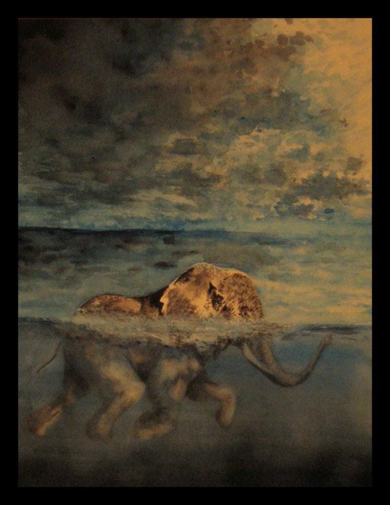 Elephant Swimming full painting