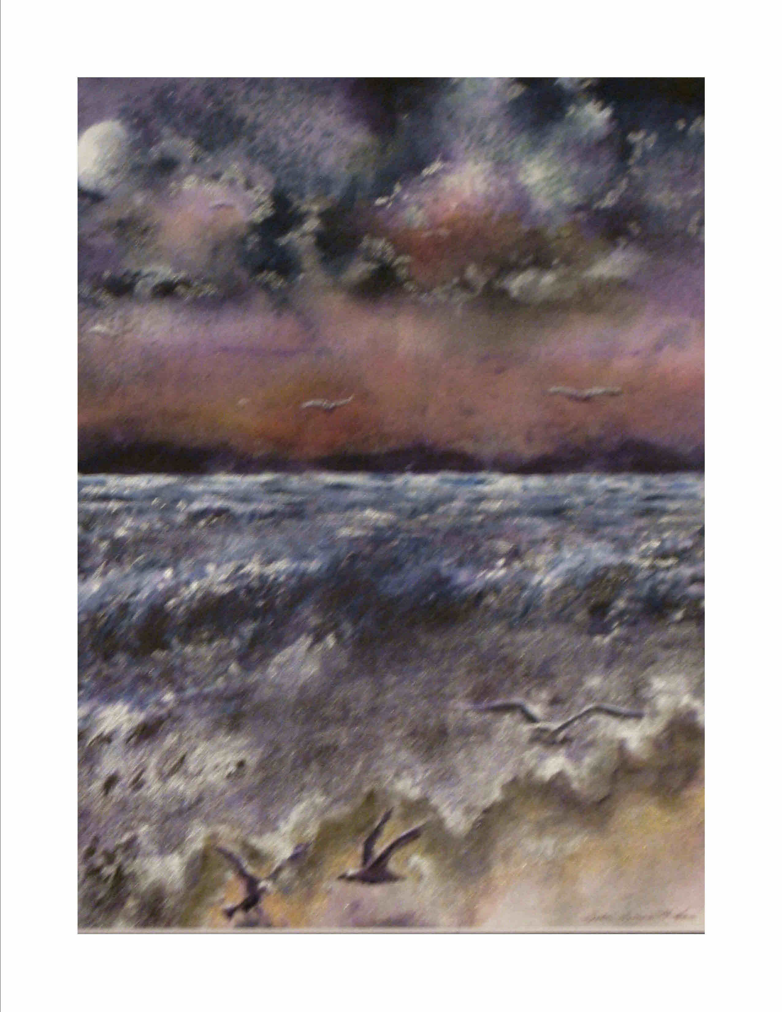 Purple Skies of Hurrican Michael - Purple Skies with Full Moon