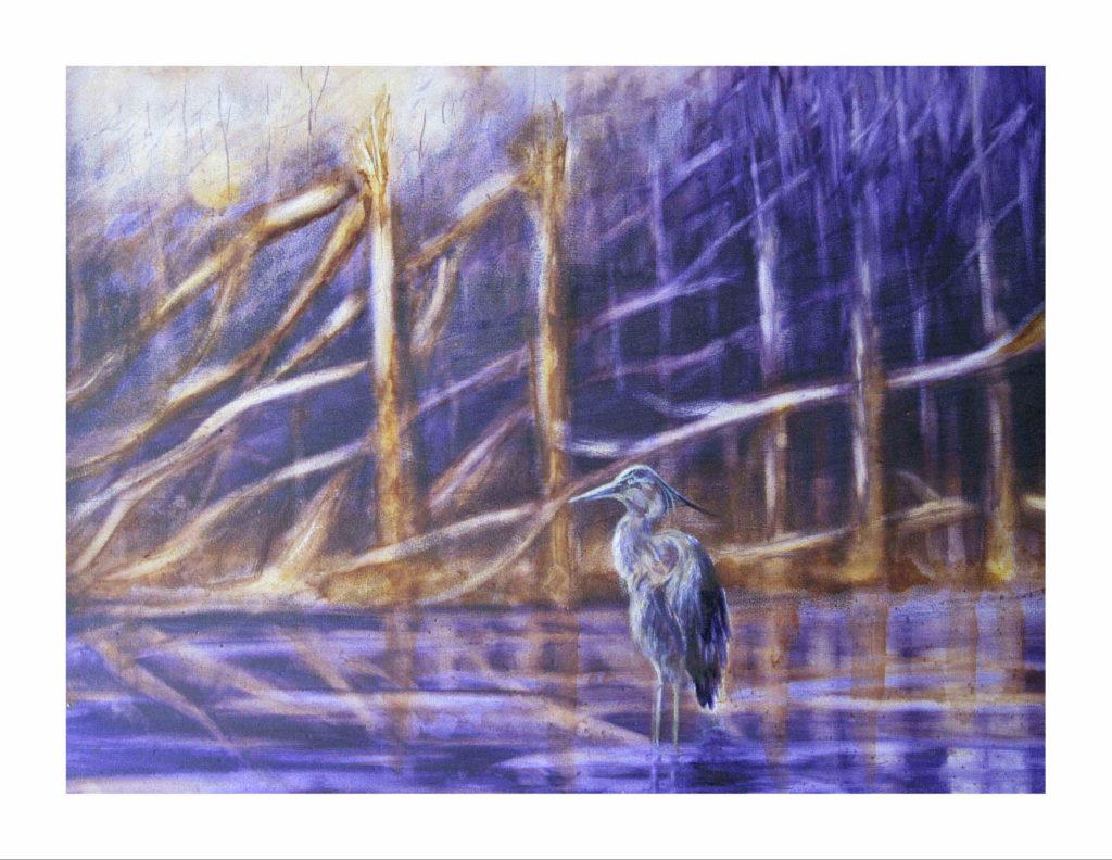 Purple Skies of Hurricane Michael - Blue Heron in the Broken Forest
