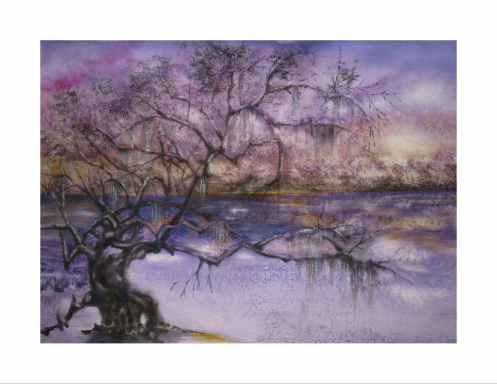 Purple Skies of Hurricane Michael, Live Oak Still Standing
